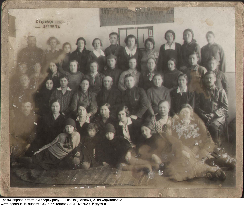 Работники столовой. Третья справа втретьем сверху ряду— Лысенко (Половик) Анна Харитоновна
