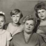 Слева направо: ? (Филиппова) Елена Павловна, ? (Филиппова) Ольга Павловна, Филиппова (?) Анна, ? (Филиппова) Татьяна Павловна. Фото сделано 15 мая 1966 г.