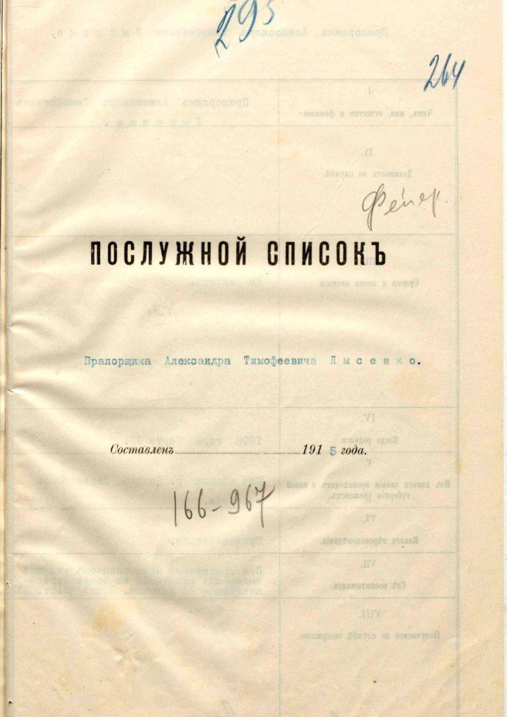 Послужной список Лысенко Александра Тимофеевича